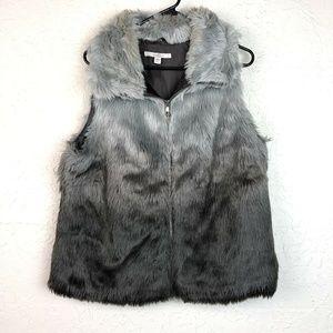 Fever Faux Fur Vest L Black Gray Fuzzy Zip Up